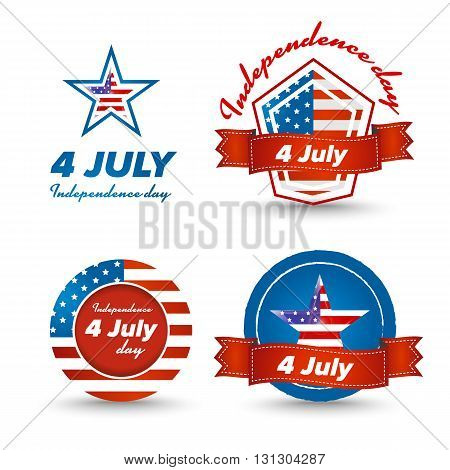 Independence day icons set with usa flag