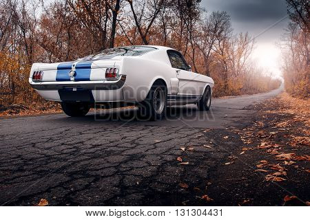 Saratov, Russia - October 17, 2014: Old car Ford Mustang Shelby GT350 on the road at daytime