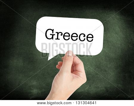 Greece written on a speechbubble
