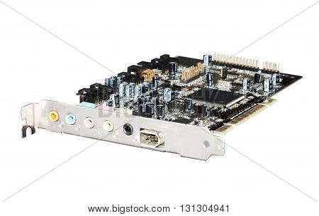 pci audiophile sound card isolated on white