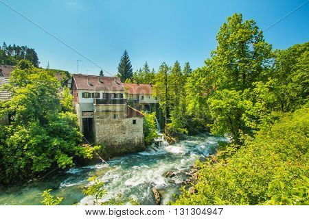 Korana river canyon and beautiful village of Rastoke near Slunj in Croatia, old water mills on waterfalls