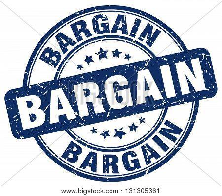 bargain blue grunge round vintage rubber stamp.
