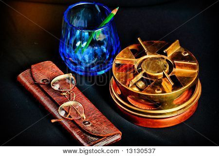Style art background. Vintage things: books, candles and other.