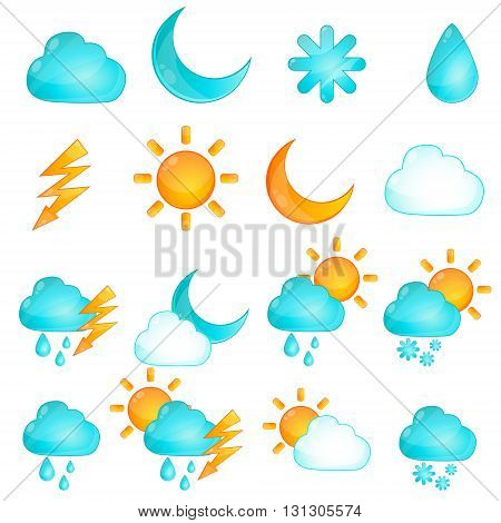 Set of Weather icons. Game Design. Vector illustration