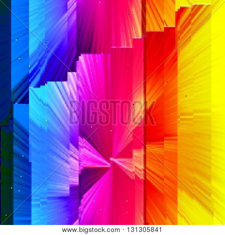 Dark blue background with light effects in style glitch- art. Vector illustration.