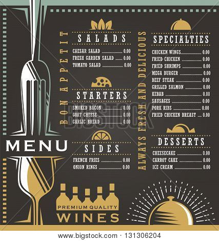 Wine and food menu design concept. Restaurant menu design. Abstract menu layout concept for cafe bar or bistro on dark black background.
