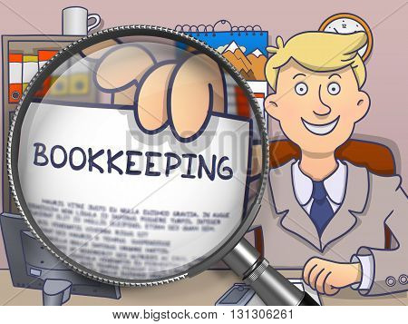 Bookkeeping. Man Showing Paper with Business Offer through Magnifier. Multicolor Doodle Illustration.