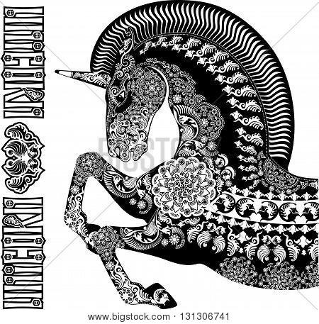 stylized profile unicorn black on white background