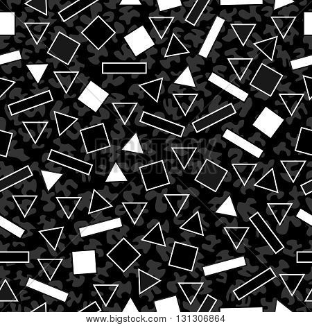 Retro Black And White Pattern With Geometric Shape