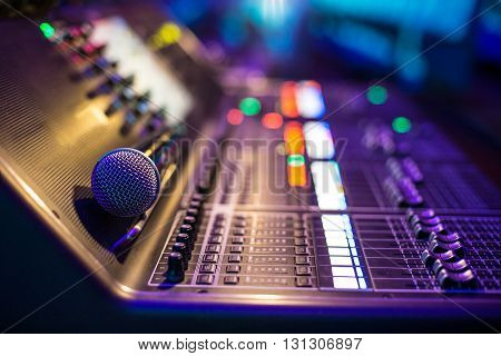 Modern show sound controller with microphone - close up photo