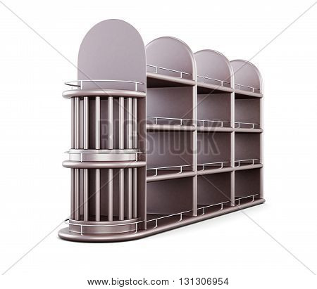 Shelving for bottles isolated on white background. 3d render image.