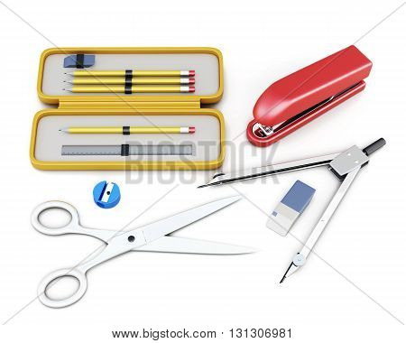 Stationery set isolated on white background. School supplies, recruitment of the student. 3d render image