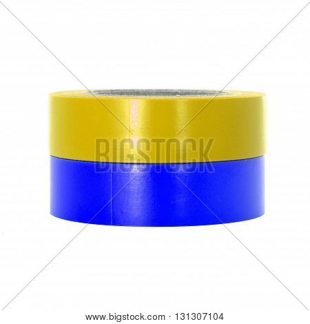 Repairing yellow blue insulation tape coils isolated on white background