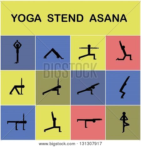 Set of icons. Poses yoga asanas.Yoga elements. Vector illustration