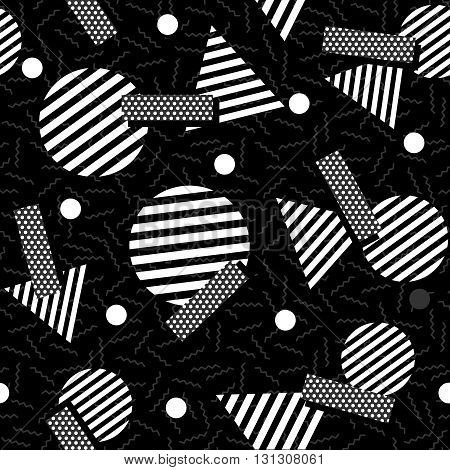 Geometric 80S Retro Pattern In Black And White
