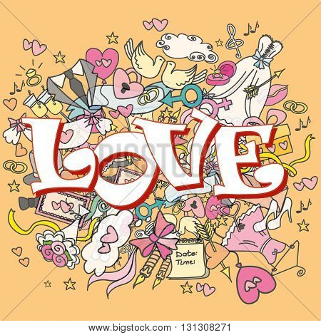 doodle wedding background, word LOVE, hand drawn, vector illustration.