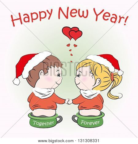 Loving boy and girl sitting on children's pots, Happy New Year greeting card, vector