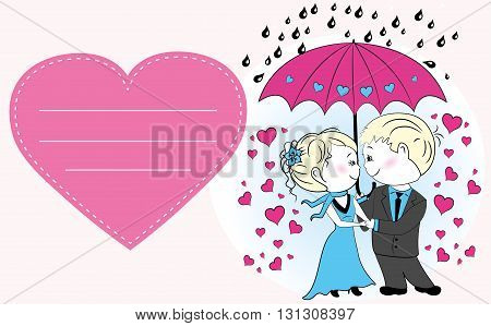 Couple in love standing under an umbrella in the rain, vector greeting card
