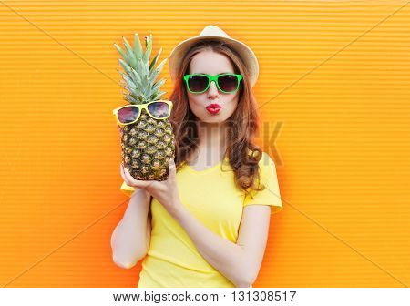 Fashion Portrait Cool Girl In Sunglasses With Pineapple Over Col
