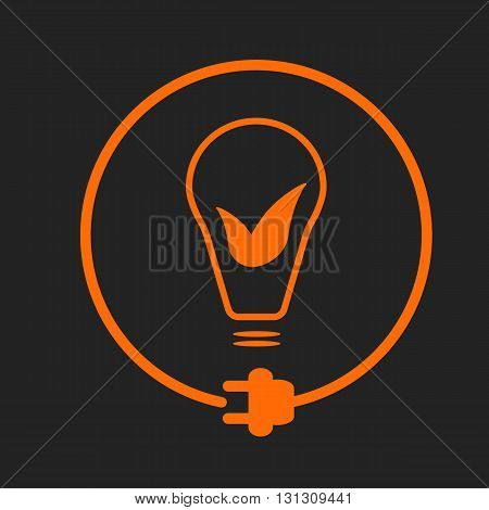 Bulb with leaves in a circle with plug as symbol of eco-friendly energy source. Orange sign on black background