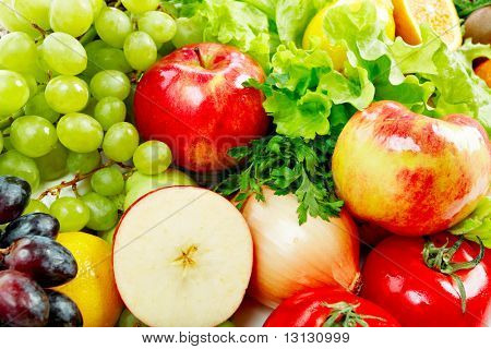 Fresh Vegetables, Fruits and other foodstuffs. Shot in a studio.