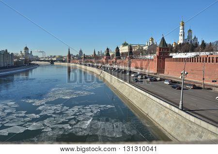 Kremlin embankment in winter. Moscow river and Kremlin clear December day.