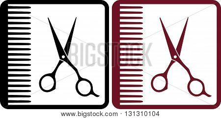 hairdresser signs with red and black profeccional scissors and comb