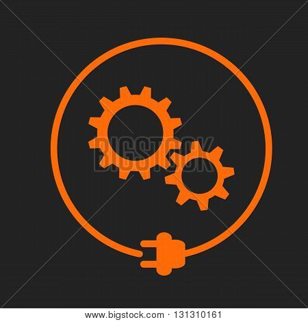 Gears in the circle with plug, electricity maintenance. Orange sign on black background