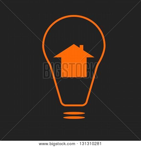 Electricity supply sign or smart house icon. Orange sign on black background