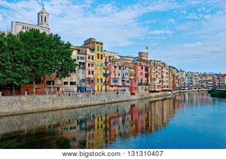 GIRONA SPAIN - JULY 25: View of Girona - Gothic Cathedral and historical jewish quarter in July 25 2014 in Girona Spain.