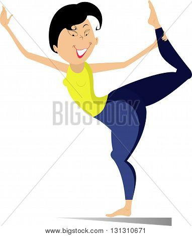 Fitness. Smiling woman do muscle stretching vector illustration
