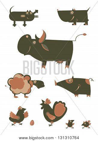 Original art farm animal illustration collection for design