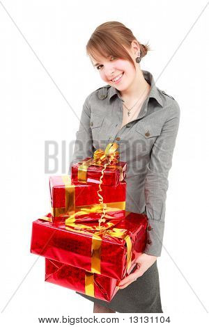 Portrait of a young woman with gifts. Shot in studio.