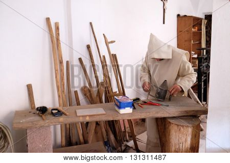PLETERJE, SLOVENIA - NOVEMBER 06: Workshop where monks products has repaired various items in the Carthusian monastery in Pleterje, Slovenia on November 06, 2015.