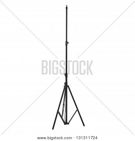 Studio flash black stand over isolated white background