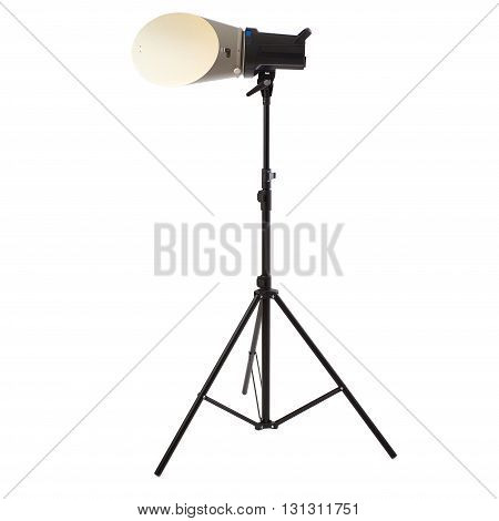 studio flash with background reflector on a stand over isolated white background