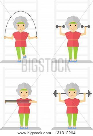 Elder Women Sport Exercises Gym