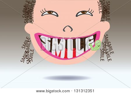 cartoon smile cute funny vector. text tooth