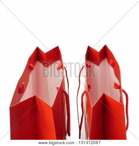 Pair of Red Shopping bag isolated over the white background