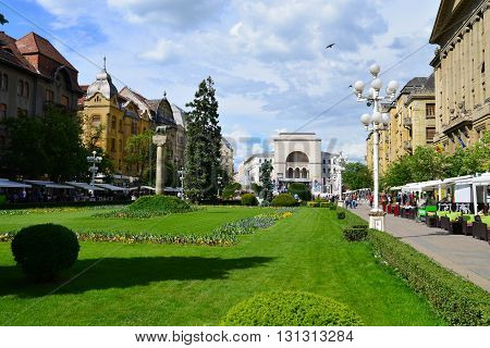 TIMISOARA ROMANIA - 05.13.2016: revolution square with opera building in background