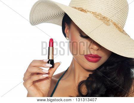 Beautiful Woman With Lipstick