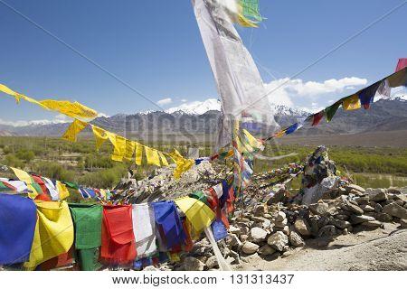 Tibetan prayer flags at Shey Palace Ladakh India