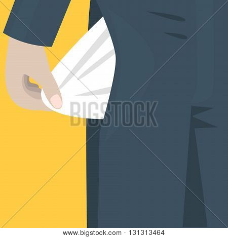 Empty pocket sticks out of the trousers. Bankrupt concept. Man holding his empty pocket.