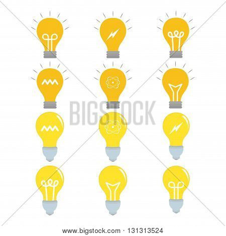Set of lightbulbs with icons on a white background