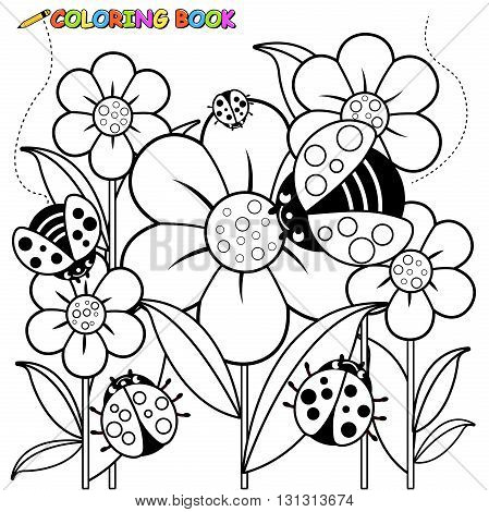 Vector Illustration of a black and white outline image of ladybugs flying on flowers in springtime.