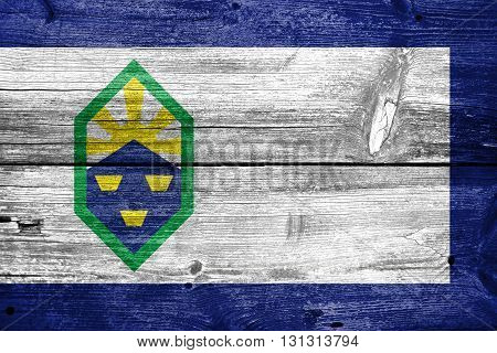 Flag Of Colorado Springs, Colorado, Painted On Old Wood Plank Ba