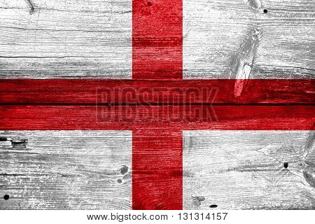 Flag Of Genoa, Painted On Old Wood Plank Background