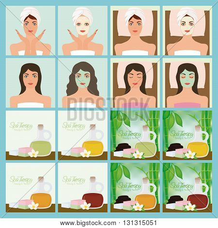Set of different spa illustrations on a colored background