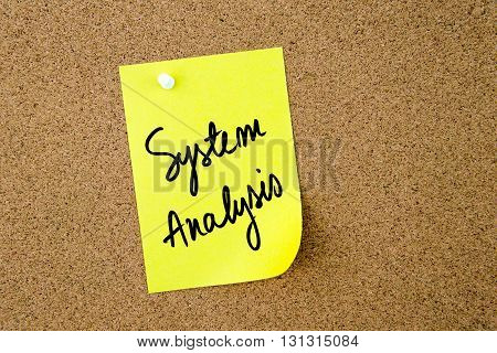 System Analysis Written On Yellow Paper Note