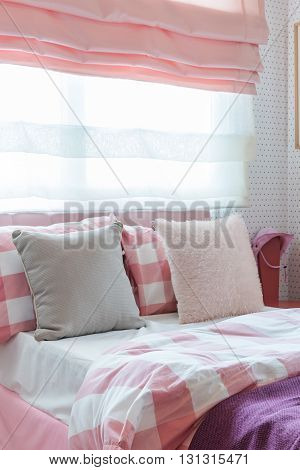 Pillows On Bed In Pink Color Tone Bedroom